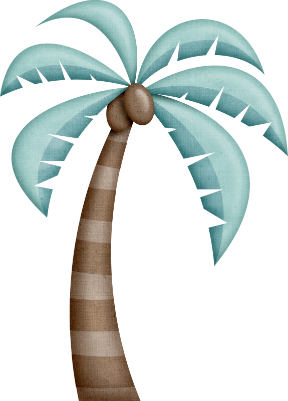 Beach With Palm Trees Vector Illustration - Palm Tree Clip Art Aesthetic (575x800), Png Download