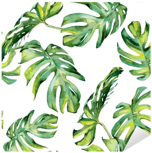 Seamless Watercolor Illustration Of Tropical Leaves, - Tropical Leaves Watercolor Free (400x400), Png Download