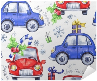 Watercolor Seamless Pattern With Cartoon Holidays Cars - Watercolor Painting (400x400), Png Download