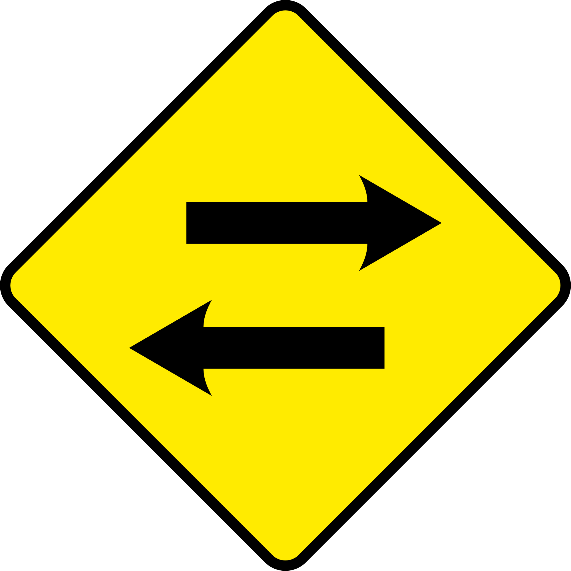 Sign Arrow Png Excellent - 2 Way Traffic Road Sign (2000x2000), Png Download