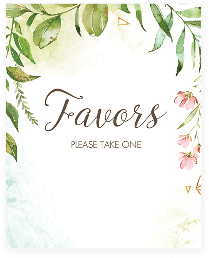 photograph about Please Take One Sign Printable called Obtain Printable Favors Make sure you Choose 1 Signal Watercolor