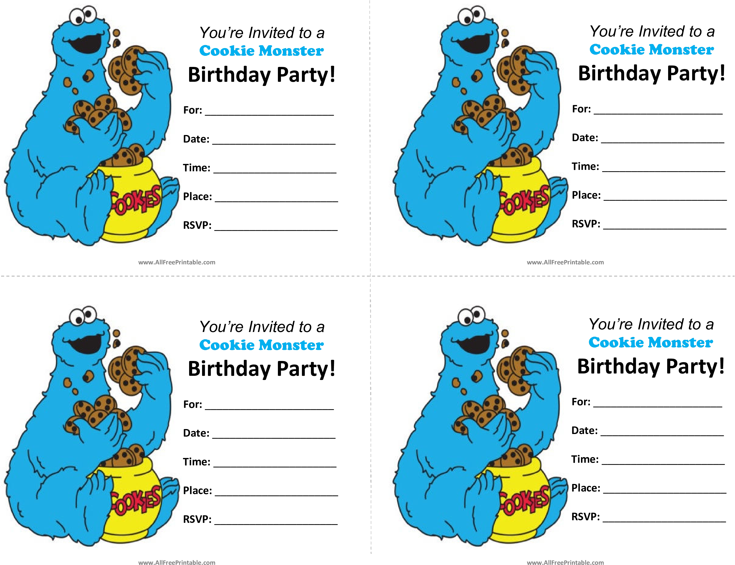 Download Cookie Monster Birthday Invitations Main Image Blank