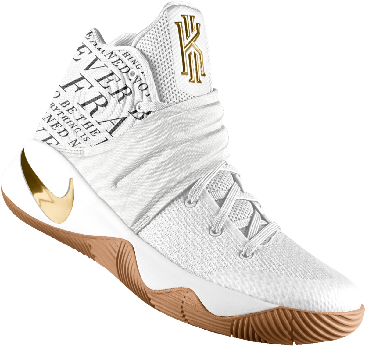 Download Kyrie 2 Id Basketball Shoe - Kyrie Irving Basketball Shoes White  And Gold PNG Image with No Background - PNGkey.com