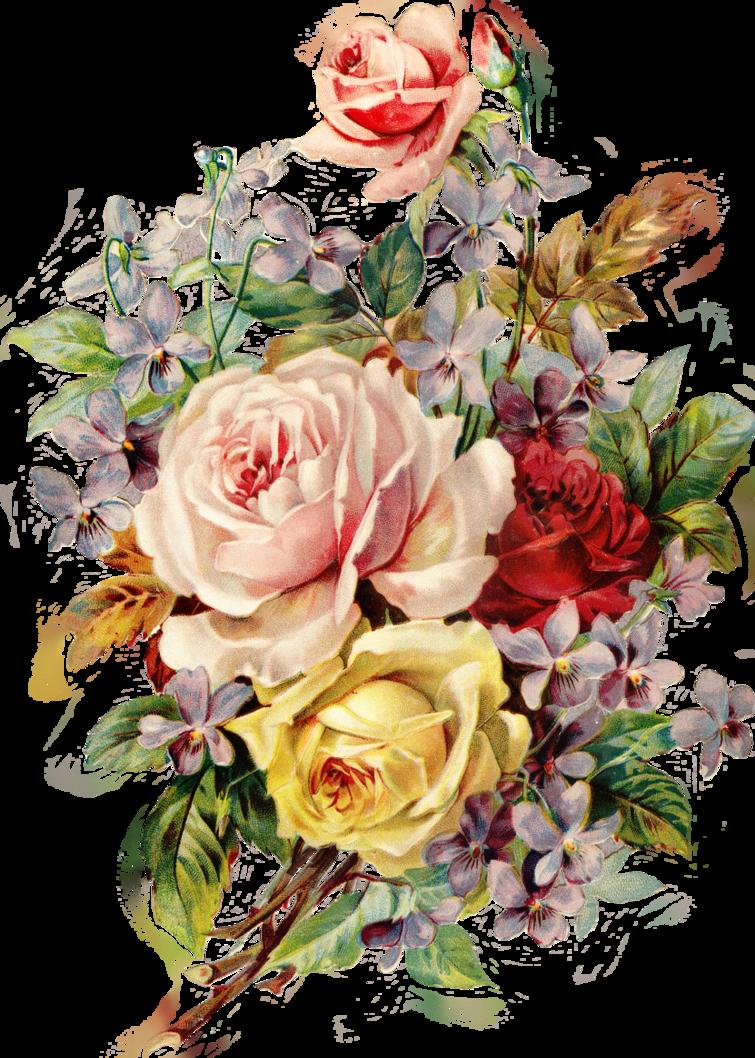 Vintage Flower Png - Vintage Flowers Png (755x1058), Png Download