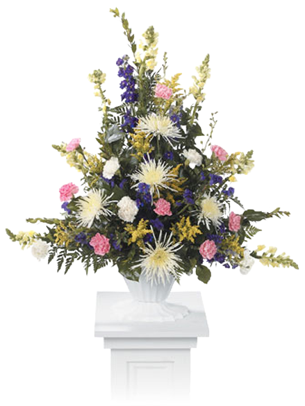 Pastel Pedestal - Pedestal Flower Pot With Flowers (600x600), Png Download
