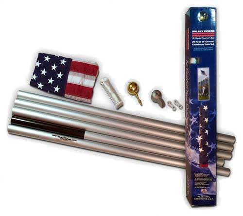 20 Ft Sectional Flagpole Kit - American Flag Pole Kit 20 Foot (500x444), Png Download