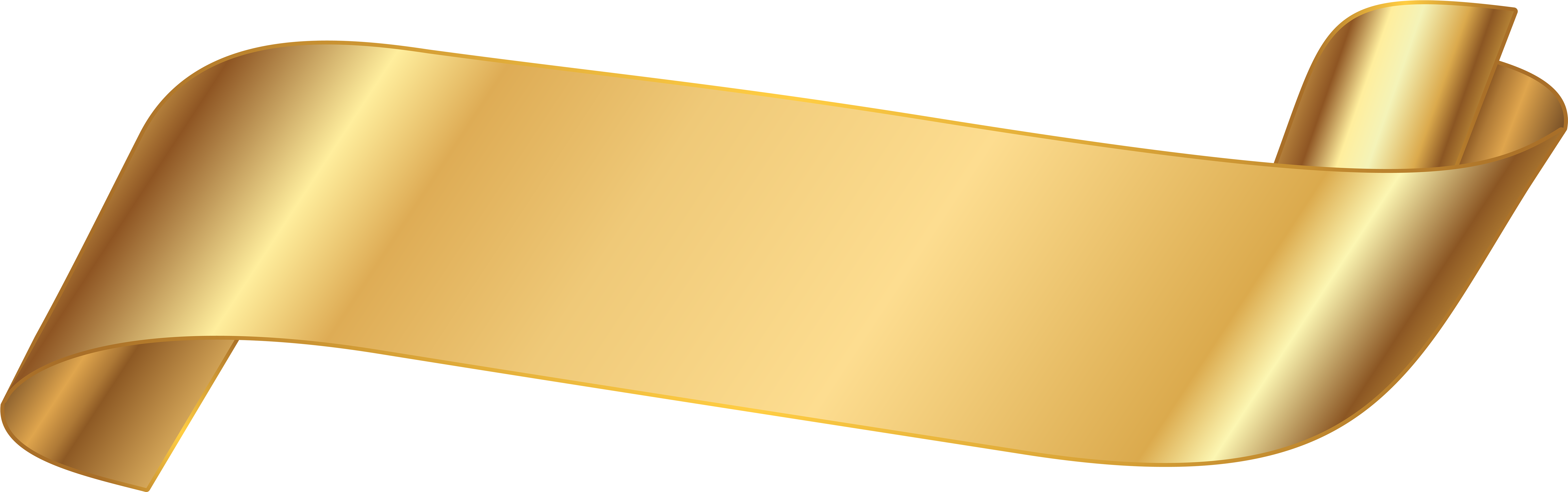 Gold Ribbon Banner Png (8000x2576), Png Download