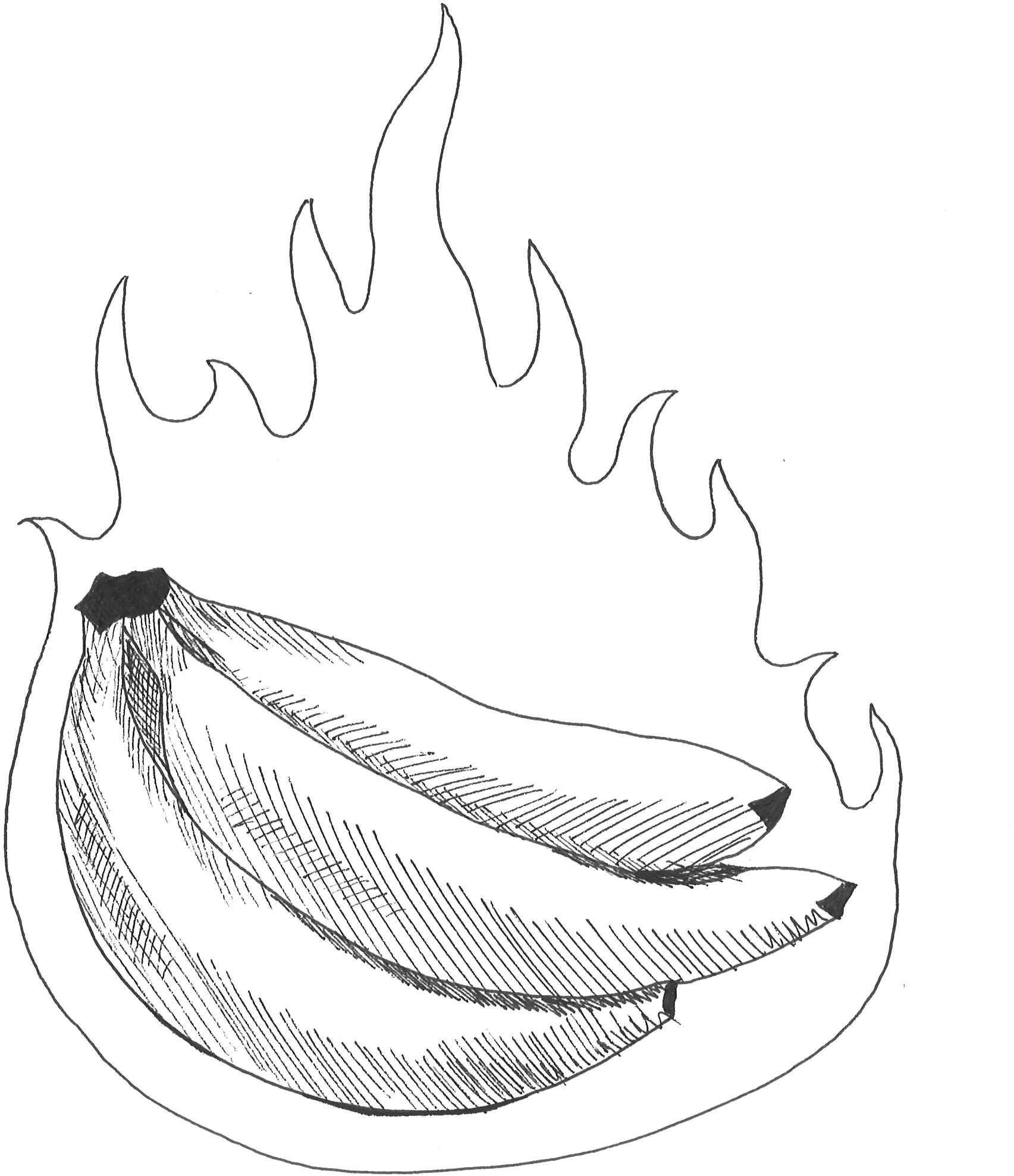 Download Bananas On Fire Sketch Png Image With No Background Pngkey Com
