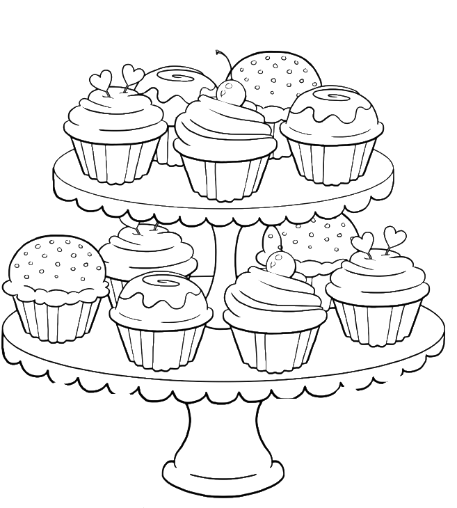 Cupcake Tower Coloring Pages For Adults - Coloring Pages For Adults Cupcakes (700x834), Png Download