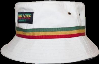 48d591d6dfc Solid White Bucket Hat - Bob Marley One Love Rasta Stripe Bucket Hat -  White (