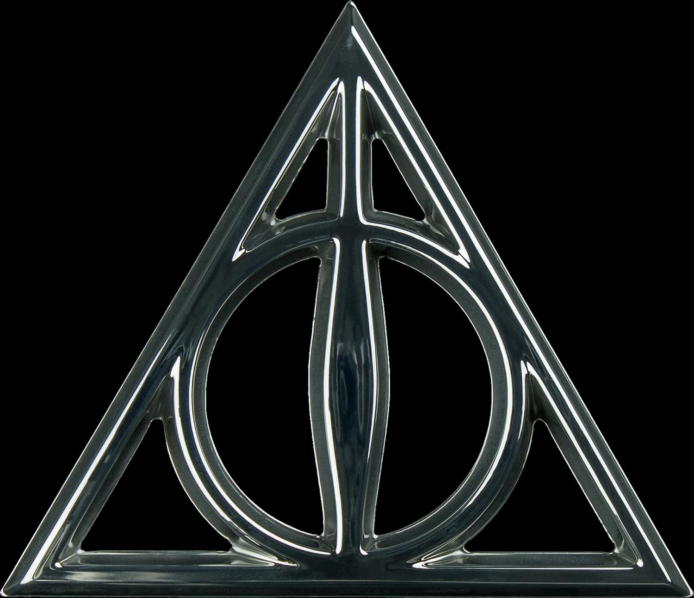 Deathly Hallows Chrome Premium Emblem - Deathly Hallows Symbol (1500x1293), Png Download