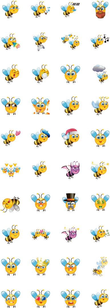 Download Bee Emoji - Cartoon PNG Image with No Background - PNGkey com