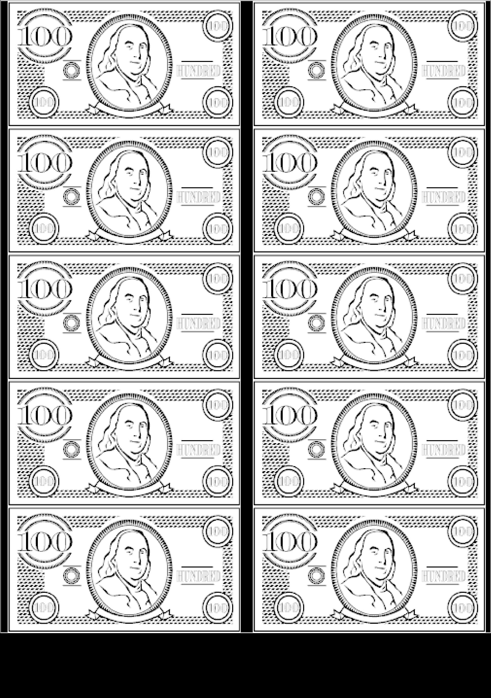 100 bill money image printable play