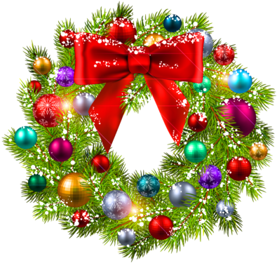 Christmas Wreaths - Christmas Wreath Clipart Free (400x381), Png Download