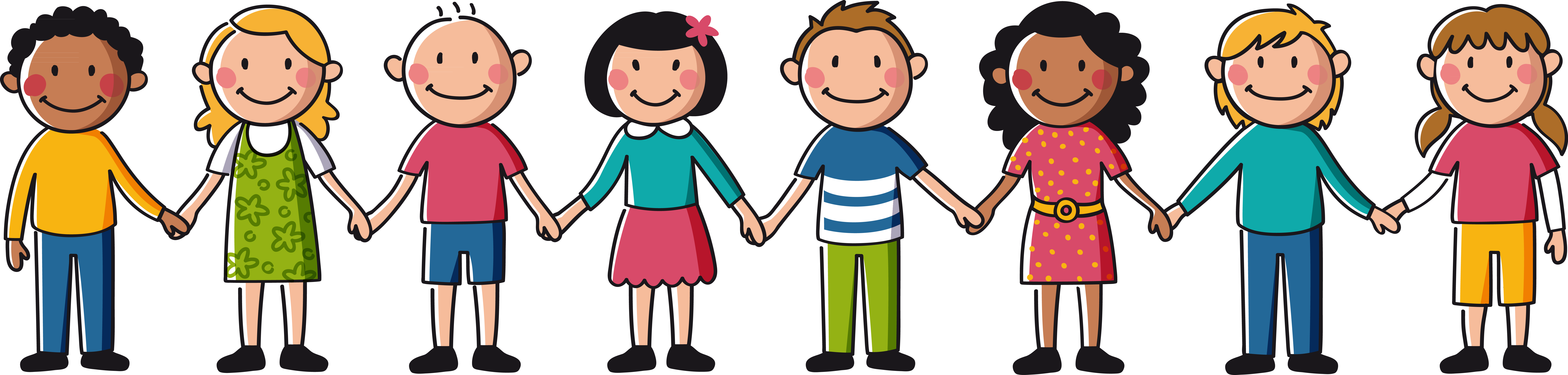Banner Freeuse Friends Holding Hands Clipart - Kids Holding Hands Clipart (9158x2188), Png Download