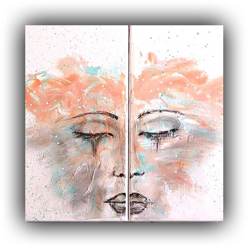 Abstract Face Double Canvas Acrylic Painting Abstract - Modern Art (585x616), Png Download