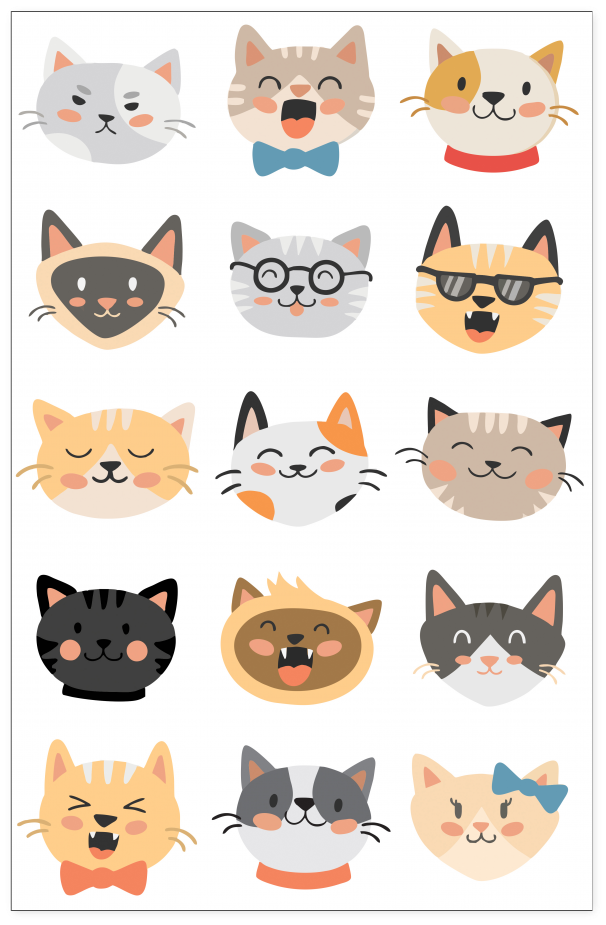 Download Cat Head Set Poster Cats Cartoon Wallpaper Hd Png Image With No Background Pngkey Com