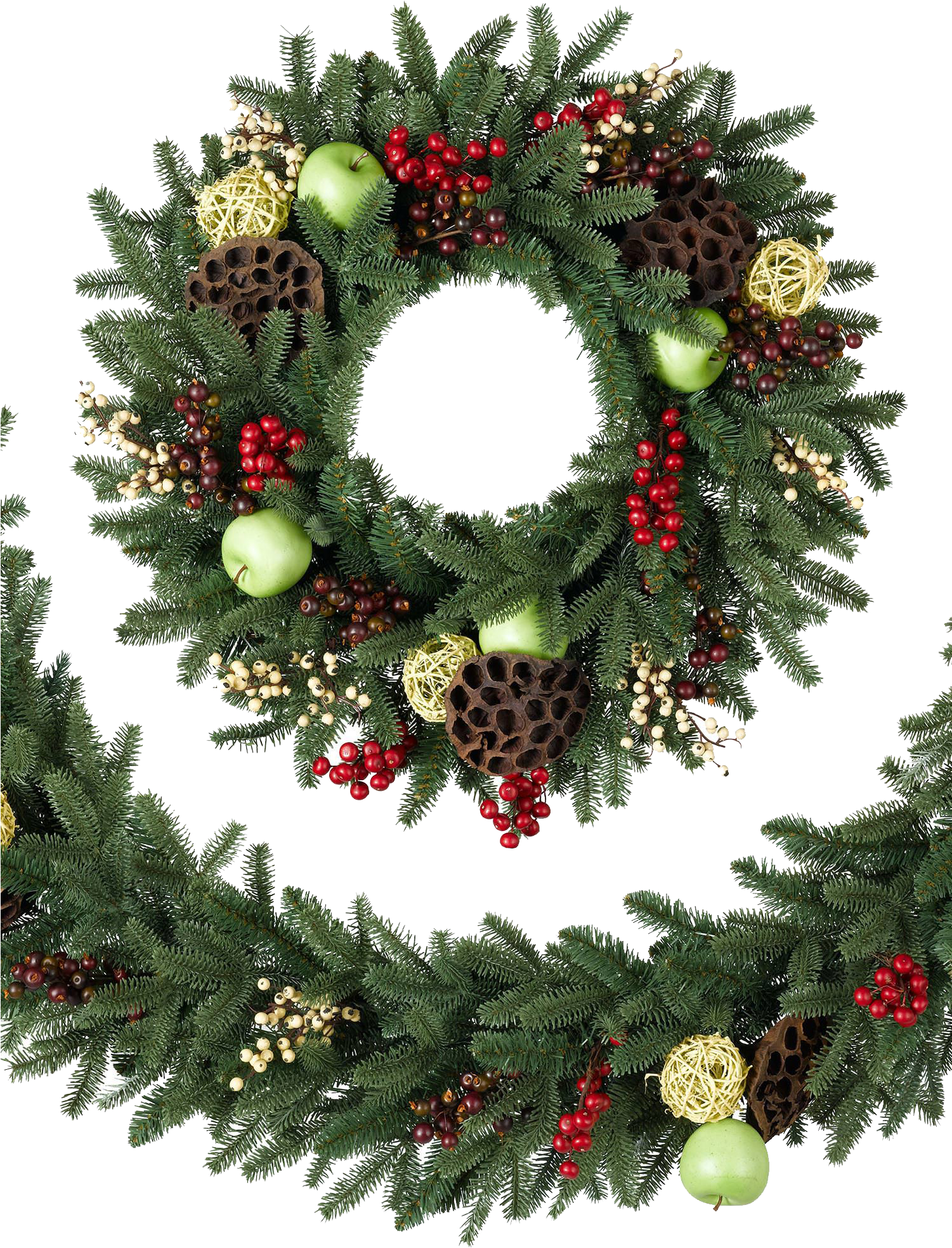 Christmas Wreath Transparent Png Png Download - Christmas Wreath Transparent Background (1500x1978), Png Download