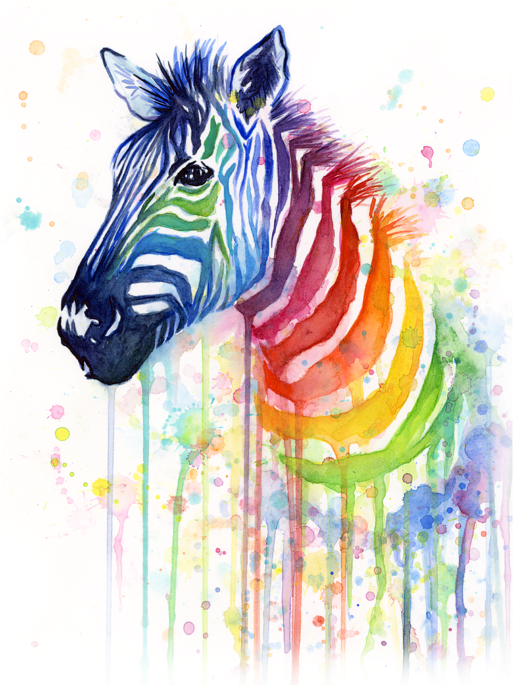 Click And Drag To Re-position The Image, If Desired - Zebra Watercolor (519x700), Png Download