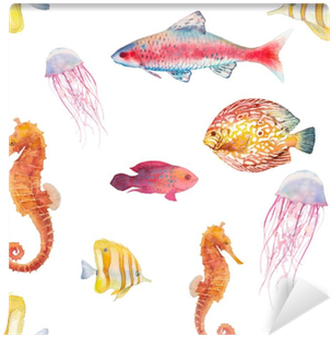Watercolor Tropical Fish Seamless Pattern - Watercolor Painting (400x400), Png Download