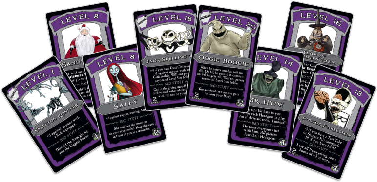 Armor And Weapons Cards To Be The Scariest Skeleton - Nightmare Before Christmas Monopoly Cards (800x393), Png Download