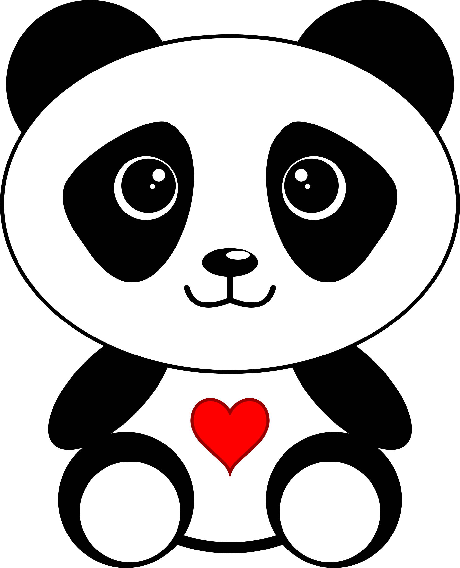 Download Panda With A Heart Picture Free Library Dibujos De Oso