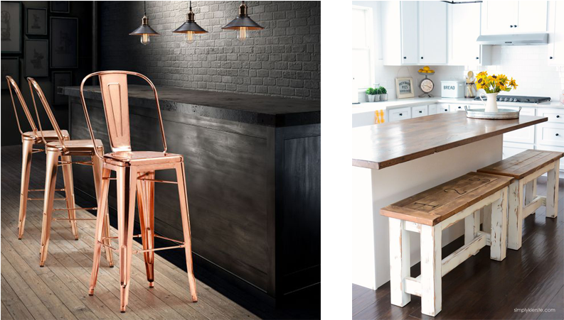 Download Rose Gold And Country Kitchen Counter Stools Country