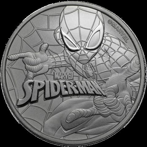 Marvel Comics Spider Man 1 Oz - Tuvalu Spider-man 1 Oz One Dollar Silver Coin Gem Bu (500x500), Png Download