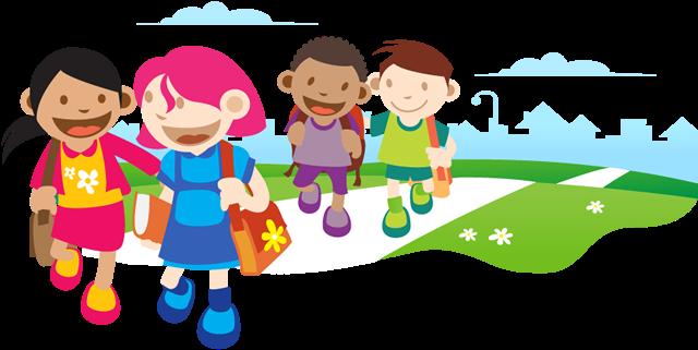 Kids Walking Png - Kids Go To School (650x336), Png Download