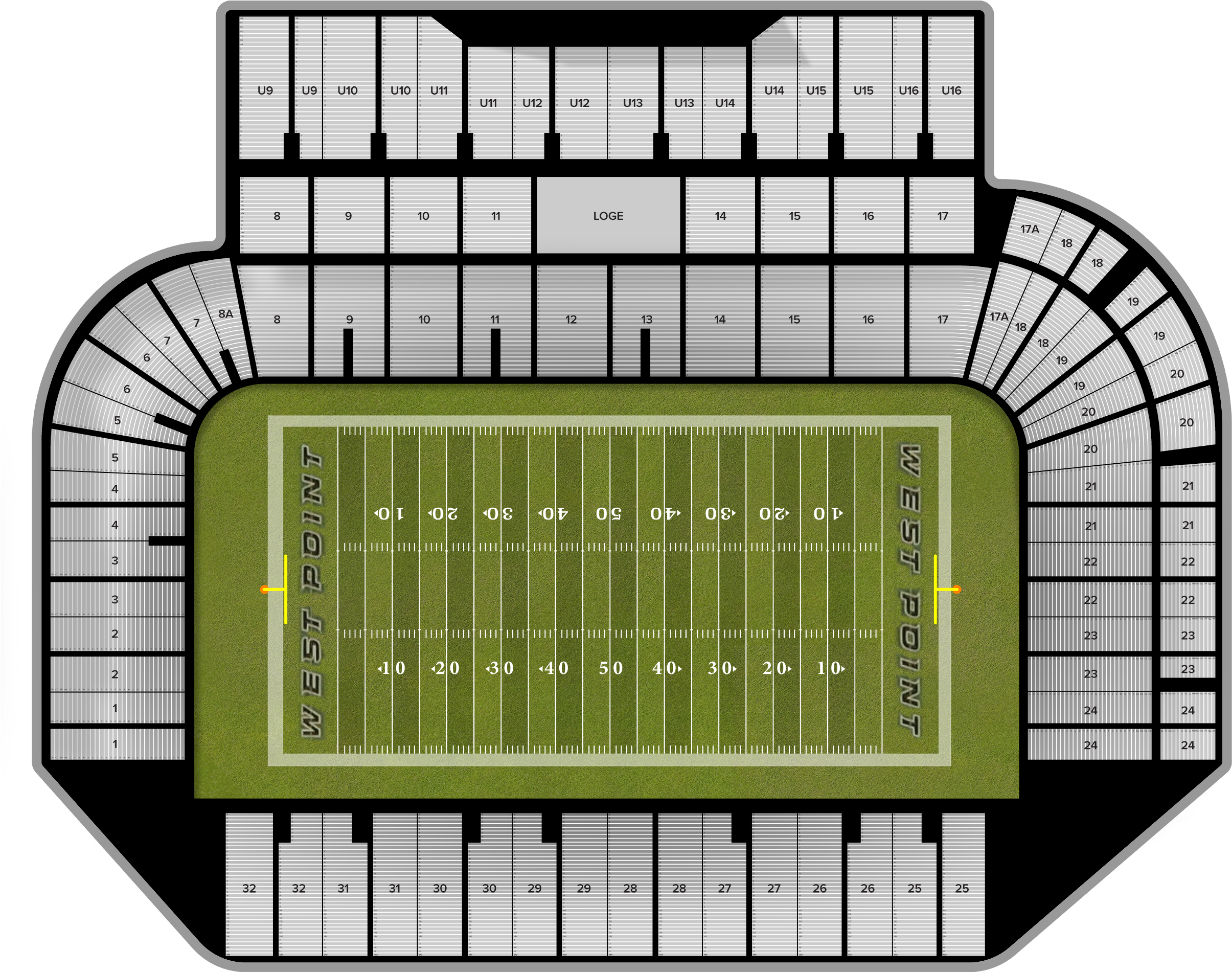 Army Michie Stadium Seating Chart Elcho Table 2560x1936 Png