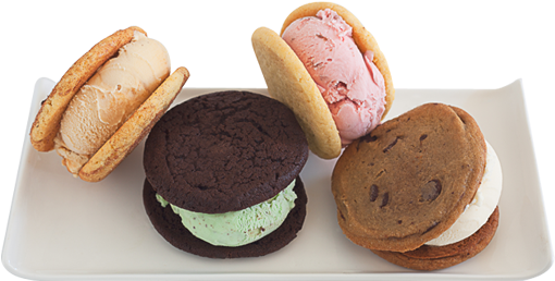 4 Ice Cream Sandwiches On A Plate - Ice Cream Sandwich (524x316), Png Download