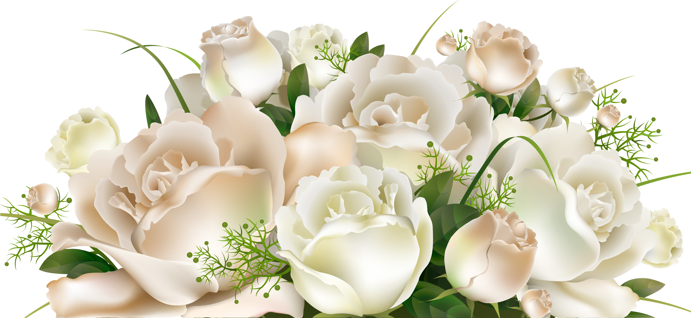White Rose Bunch - Transparent Background White Roses Png - Free Transparent PNG Download - PNGkey