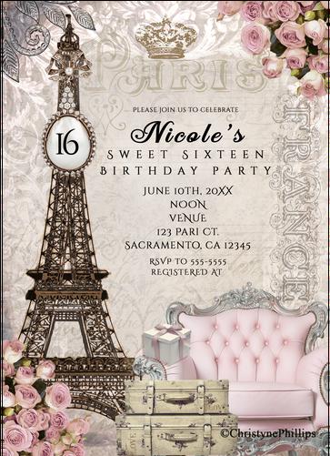 Download Paris Eiffel Tower Vintage Chic Birthday Party Invitations