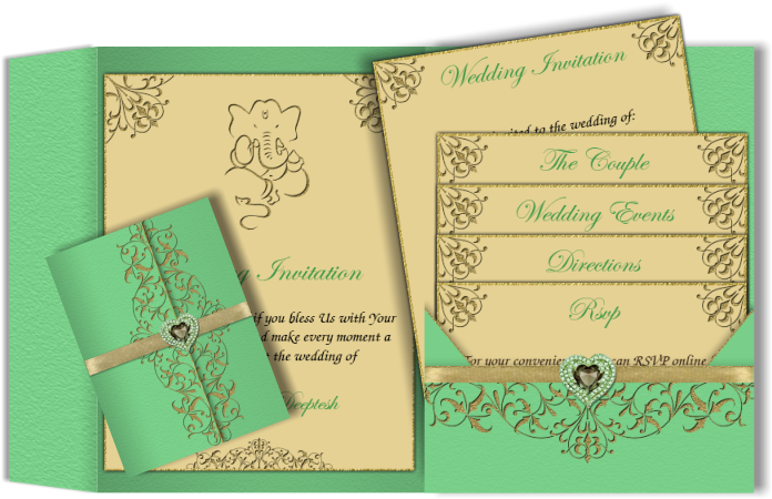 Download Emerald Green E Wedding Invitation With Ganesha Symbol