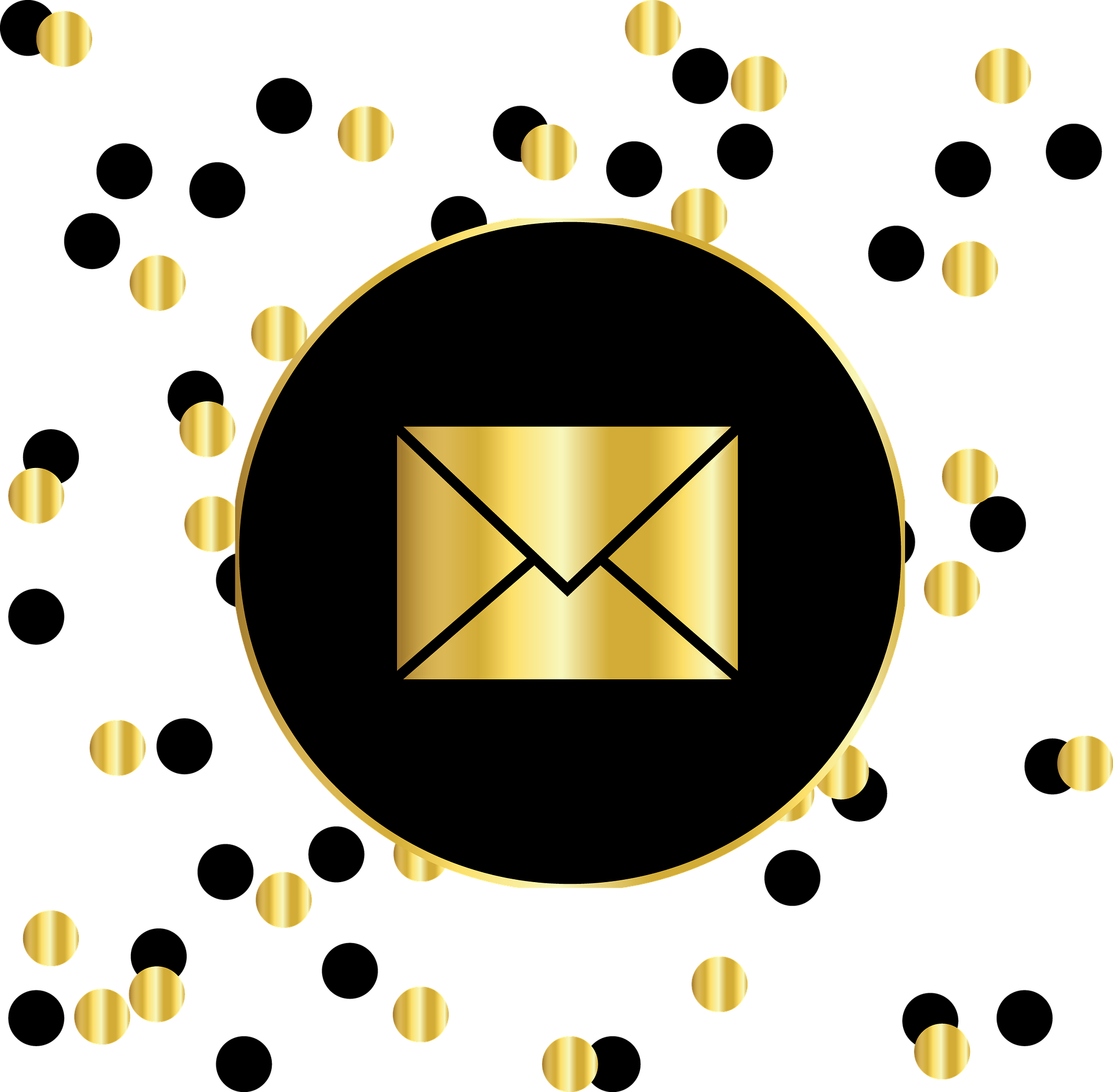 Email Gold And Black Circles - Instagram Logo Black And Gold (1920x1883), Png Download