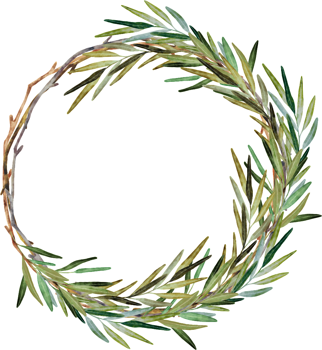 Hand Painted Weed Grass Ring Png Transparent - Watercolor Rosemary Wreath (1024x1112), Png Download