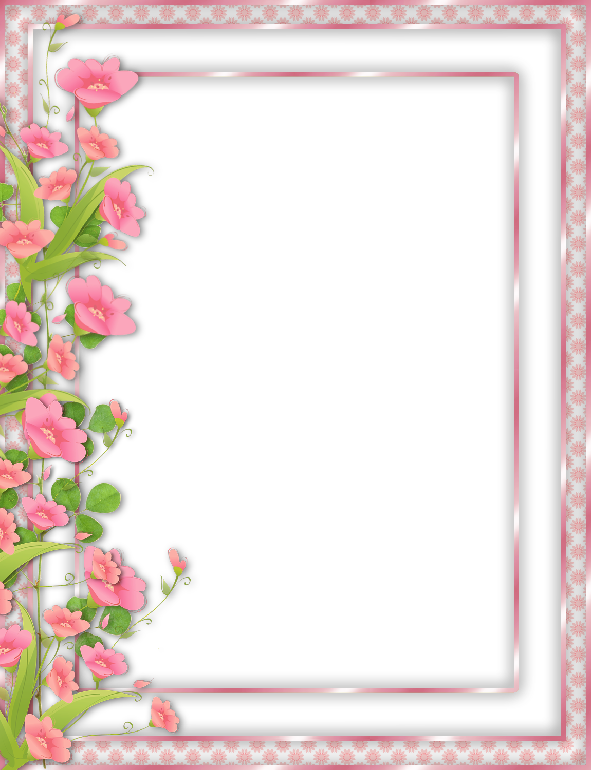 Pink Transparent With Flowers - Pink Flower Frames And Borders Png (1150x1500), Png Download