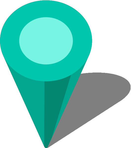 Location Map Pin Turquoise Blue7 - Turquoise Location Pin Icon Png (530x600), Png Download