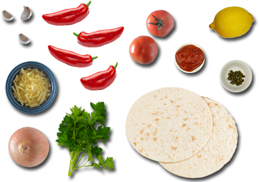 Pizza Ingredients Png Download - Pizza Toppings Top View Png (570x380), Png Download
