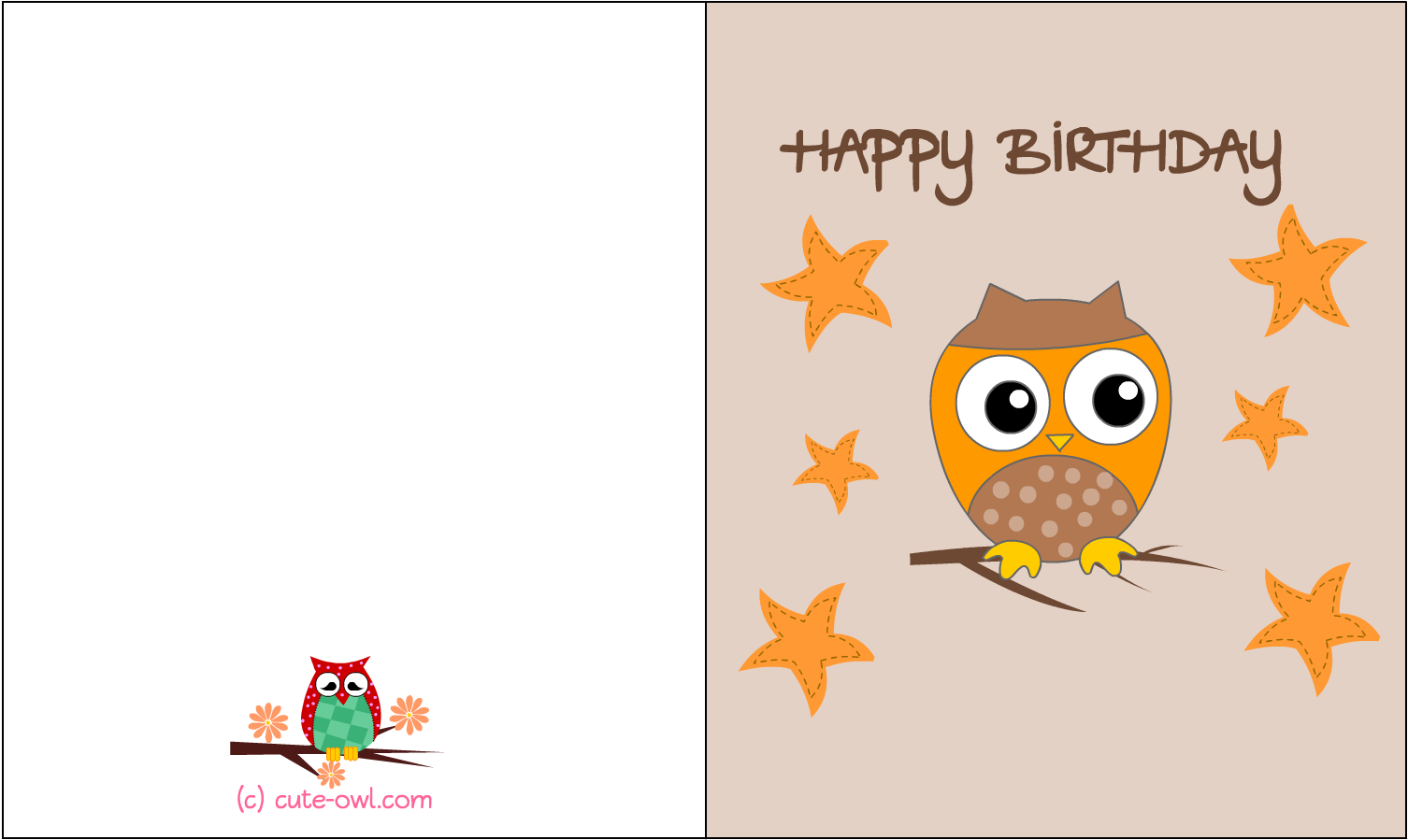 Happy Birthday Printable Free Owl Cards 1650x1275 Png Download