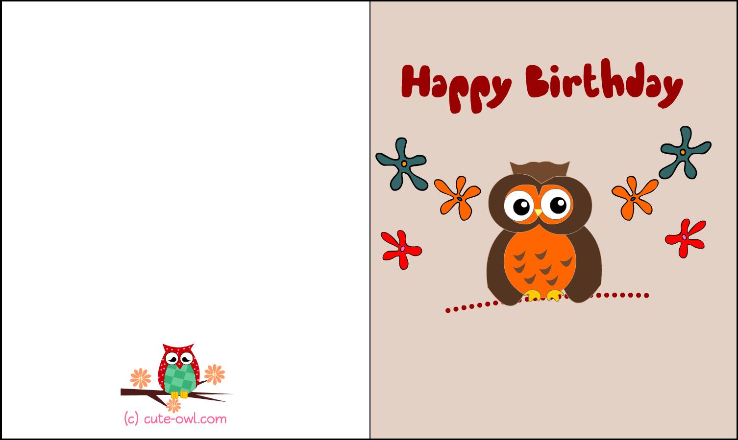 Download Free Printable Cute Owl Birthday Cards Printable Owl Birthday Card Png Image With No Background Pngkey Com