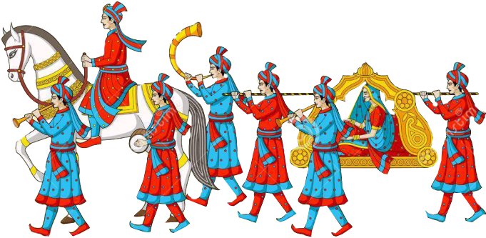 Download Wedding Pencil And In Color Baraat Clipart Png Image With