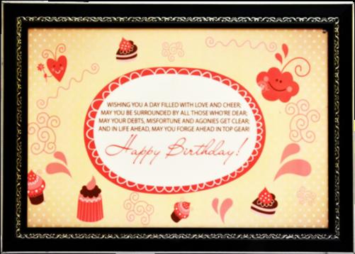 Happy Birthday Frame Art Print Digital Reprint Painting - Christmas Card (500x500), Png Download