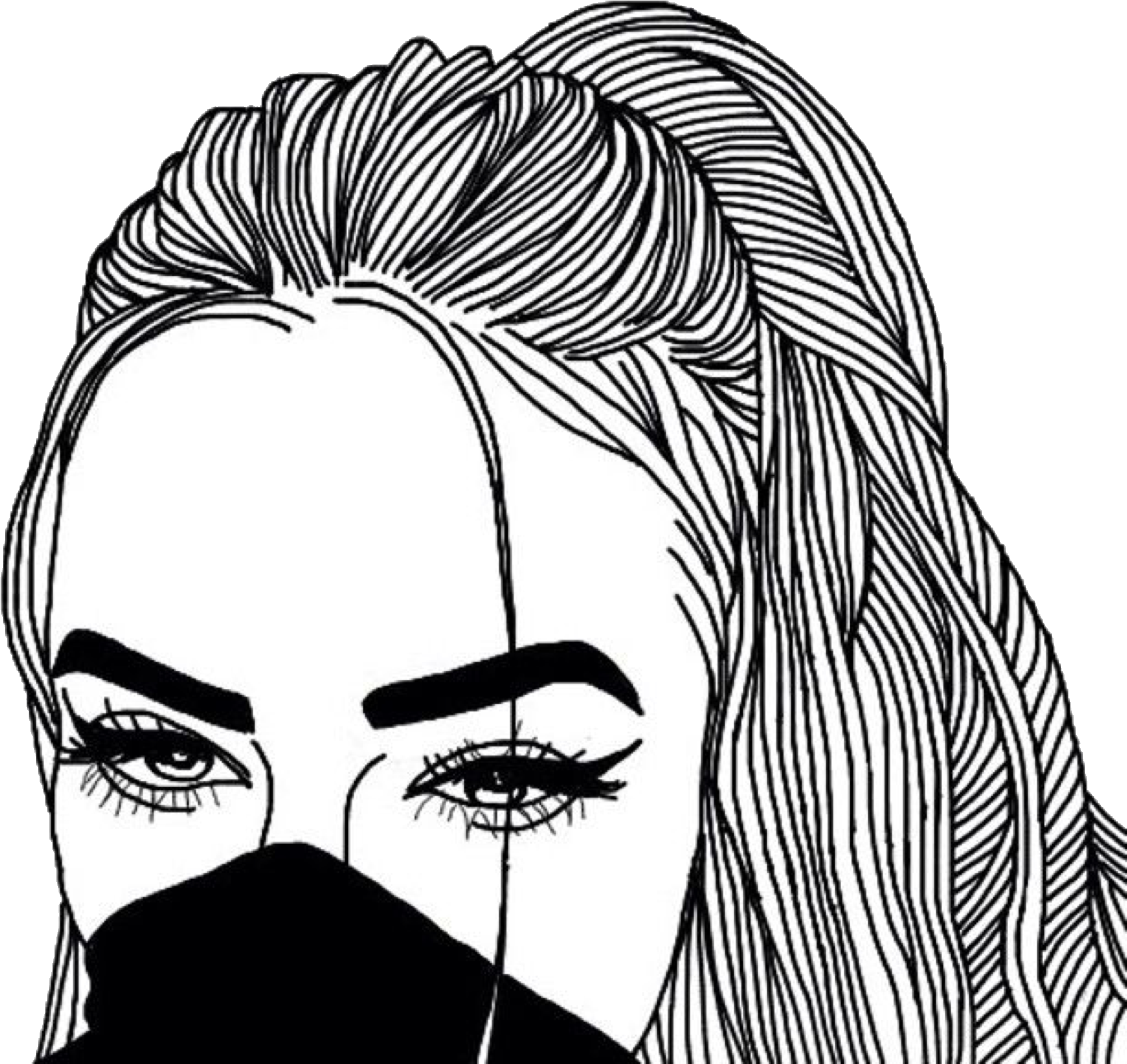 Download Eyes Tumblr Drawing At Getdrawings Outline Girl Png Image With No Background Pngkey Com