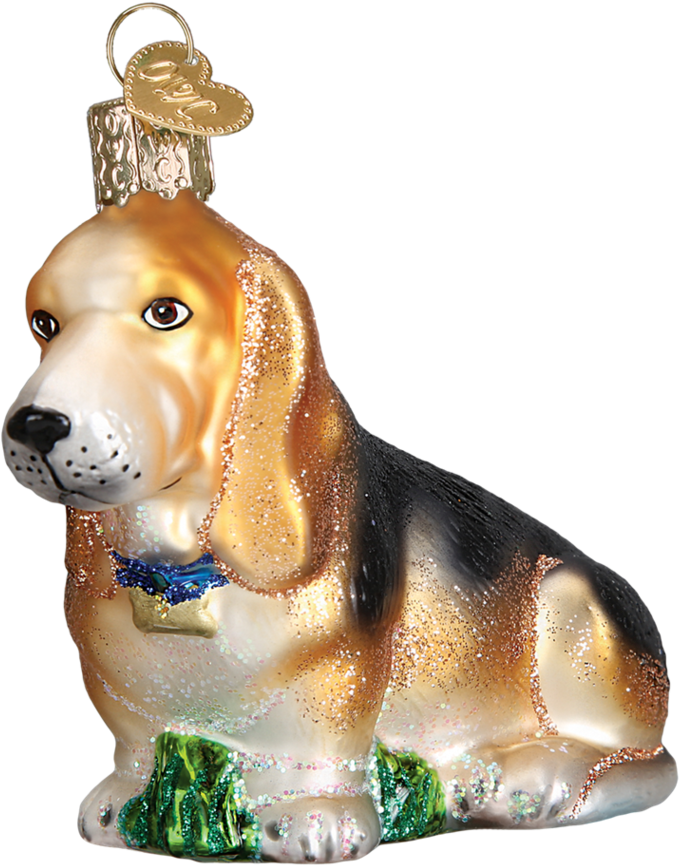 Bassett Hound Glass Ornament By Old World Christmas (950x950), Png Download
