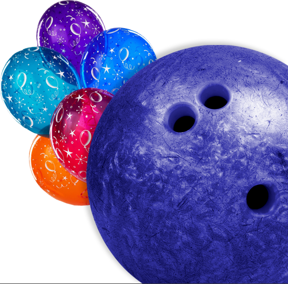 Bright Beautiful Birthday Balloons With A Bowling Ball - Red Bowling Ball (565x556), Png Download