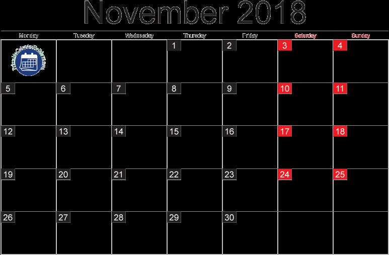 Download November 2018 Monthly Calendar In Pdf, Jpg - Moon