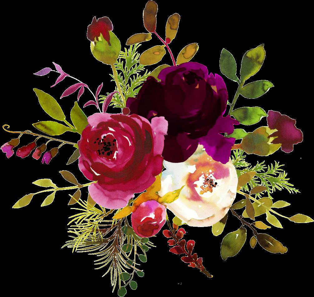 Download Ink Flower Decoration Vector - Burgundy ...