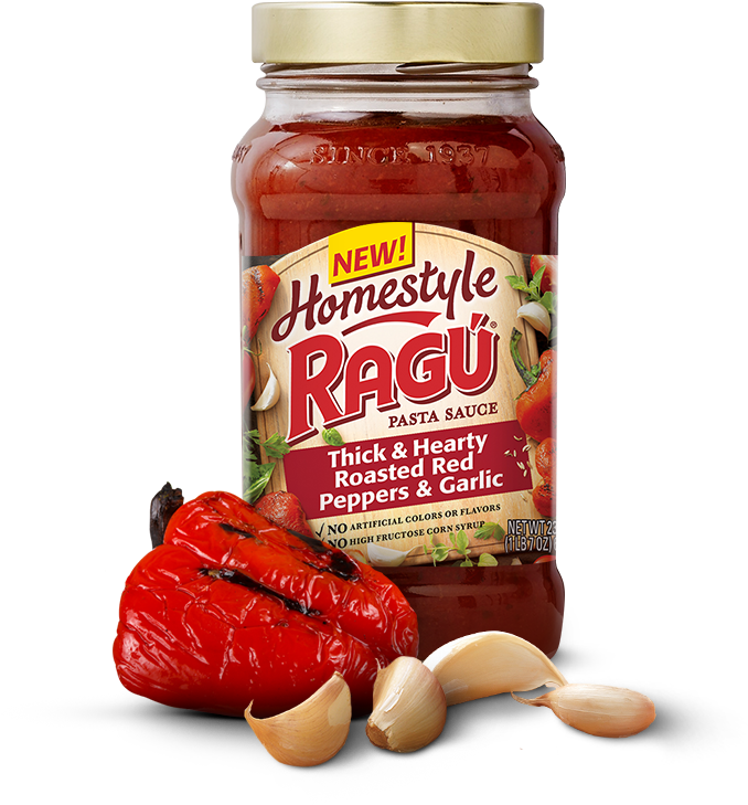 Homestyle Thick & Hearty Roasted Red Peppers & Garlic - Ragu Homestyle Spaghetti Sauce (1000x800), Png Download