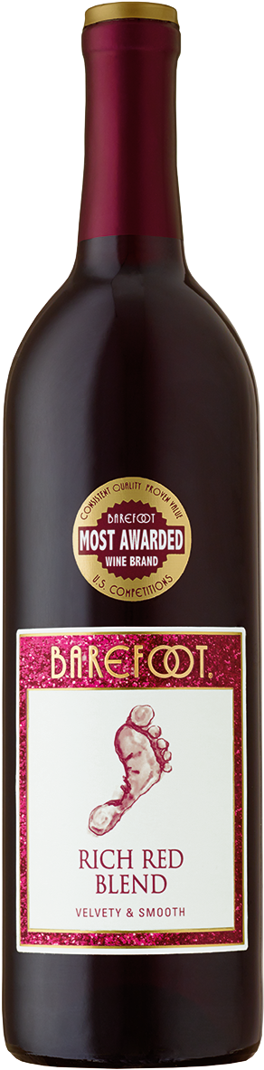 Rich Red Blend Wine - Barefoot Rich Red Blend Wine (473x1200), Png Download
